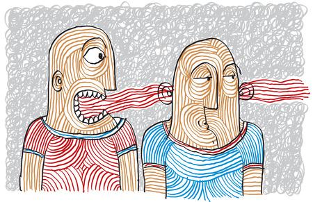 Disegno di controversia due persone. Diversi temperamenti, illustrazione collerico e flemmatica disegnati a mano.