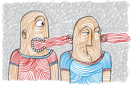 Drawing of two person dispute. Different temperaments, choleric and phlegmatic hand-drawn illustration.