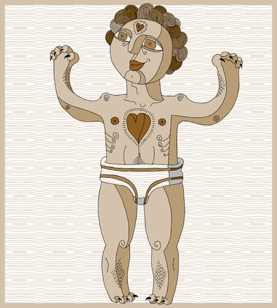 nude man: Vector lined illustration of nude man, Adam concept. Hand drawn image of person isolated on white symbolizing love and goodness. Symbolic spirit.