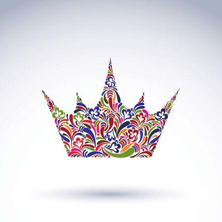 corona de reina: Colorido corona de la flor-modelado, coronaci�n elemento de dise�o vectorial. Accesorio cl�sica real adornada con el modelo abstracto de la flor. Vectores