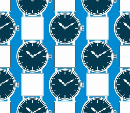 hour hand: Seamless vector background with stylish wristwatches, elegant backdrop with dial and an hour hand. Time management.