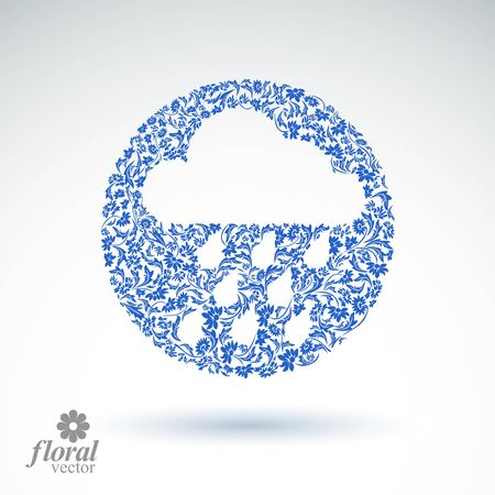 cloudburst: Weather forecast vector icon, meteorology flower-patterned symbol. Cold season  abstract pictogram,  storm cloud with falling rain drops.