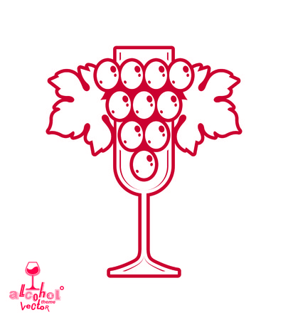 sparkling wine: Sparkling wine vector illustration. Stylized empty wineglass with grape vine and beautiful ribbon, racemation symbol best for use in advertising and graphic design. Illustration