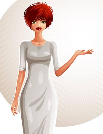 sexy woman standing: Attractive white-skin standing girl showing at empty copy space with her hand, colorful illustration. Sexy red-haired woman, well-dressed glamorous female.