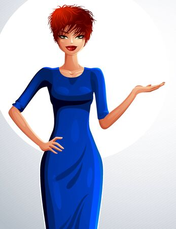 sexy woman standing: Attractive white-skin standing girl showing at empty copy space with her hand, colorful illustration. Sexy red-haired woman, well-dressed glamorous chic. Illustration