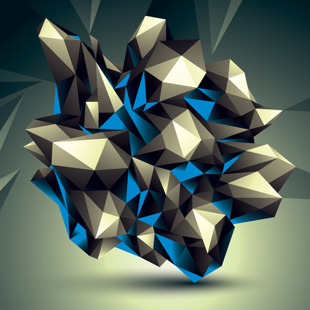 modeling: Asymmetric 3D abstract object, geometric spatial form. Render and modeling.