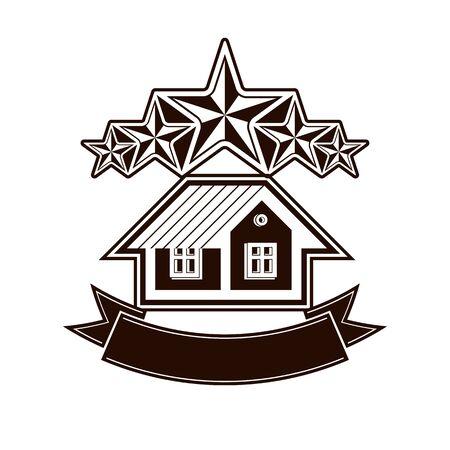 Simple house with five classic stars and curvy ribbon. VIP apartment conceptual vector icon. Reward idea, decorative design element. Illustration