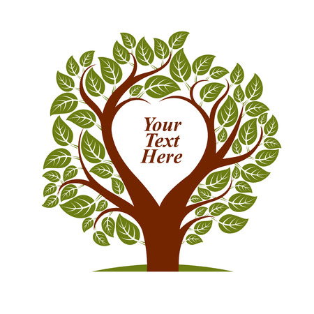 your text here: Vector illustration of tree with leaves and branches in the shape of heart with blank copy space. Your text here. Illustration