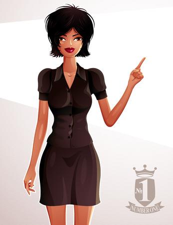 Retrato de cuerpo entero de una mujer morena de negocios magnífica, dibujo colorido. Elegante mujer bien vestida que señala en algo a lado con el dedo. Ilustración del vector. símbolo de diseño heráldico.