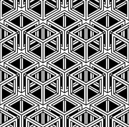 superimpose: Endless monochrome symmetric pattern, graphic design. Geometric intertwine optical composition.
