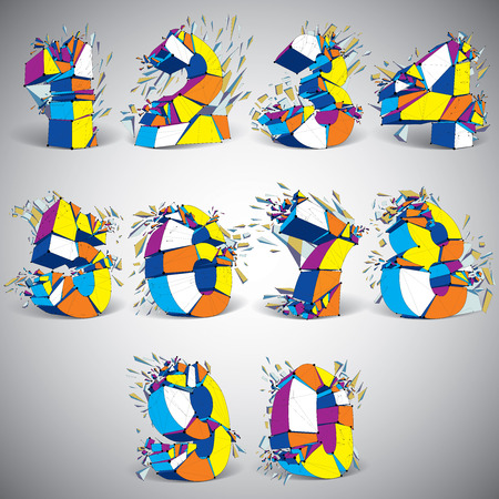 numeration: Set of abstract 3d faceted colorful numbers with connected black lines and dots. Vector low poly shattered design elements with fragments and particles. Explosion effect, numeration with thread.