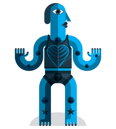 odd: Bizarre creature vector illustration, cubism graphic modern picture. Flat design image of an odd character isolated on white.