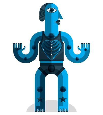 cubismo: Ilustración extraña criatura vector, el cubismo foto gráfico moderno. Imagen Diseño plano de un carácter extraño aislado en blanco. Vectores