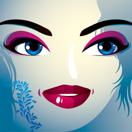 countenance: Face makeup. Lips, eyes and eyebrows of an attractive woman displaying happiness. Fashionable female haircut.