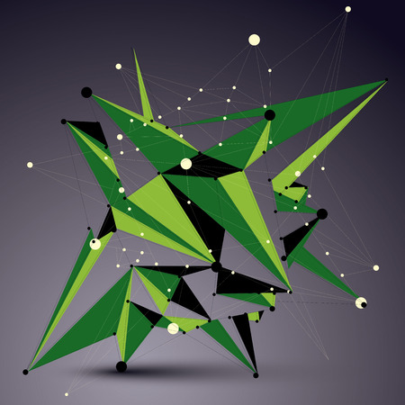apex: Spatial vector green digital apex object, 3d technology figure with geometric elements and wireframe.