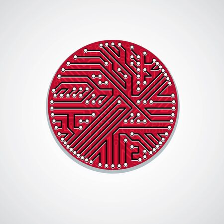 electronic components: Round circuit board with electronic components of technology device. Computer motherboard cybernetic vector abstraction.