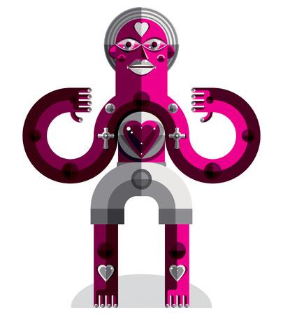 cubismo: Vanguardista avatar, colorido dibujo creado en estilo del cubismo. retrato geométrica modernista, ilustración vectorial de ídolo. Concepto del amor.