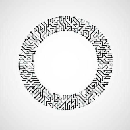 circuitry: Vector circuit board circle, digital technologies abstraction. Black and white computer microprocessor scheme, futuristic design.