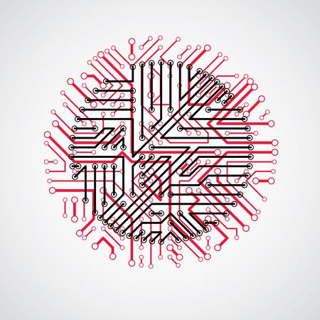 ベクトル回路基板円、デジタル技術の抽象化です。赤いコンピューターのマイクロプロセッサ方式、未来的なデザイン。