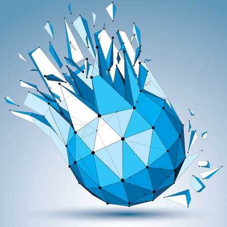 smashed: 3d vector low poly object with black connected dotted lines, geometric wireframe blue shape with fractures. Asymmetric perspective shattered polygonal form.