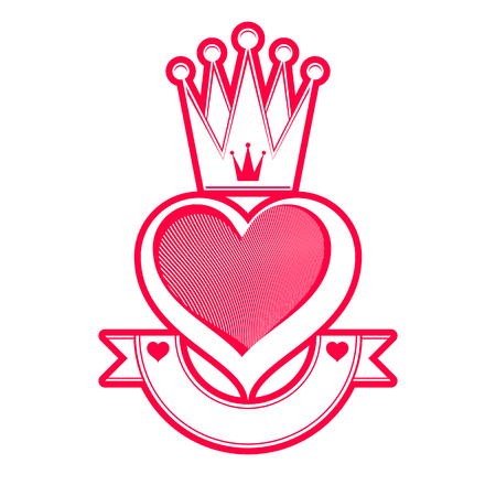 loving: Loving heart artistic illustration with queen crown and ribbon. Royal symbol, imperial accessory. Valentine�s day romantic design element, best for use in advertising and graphic design.