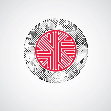 high tech: Vector abstract technology illustration with round red circuit board. High tech circular digital scheme of electronic device.