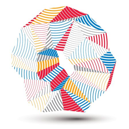 spatial: Asymmetric 3D abstract striped object, colorful geometric vector spatial form. Render and modeling.