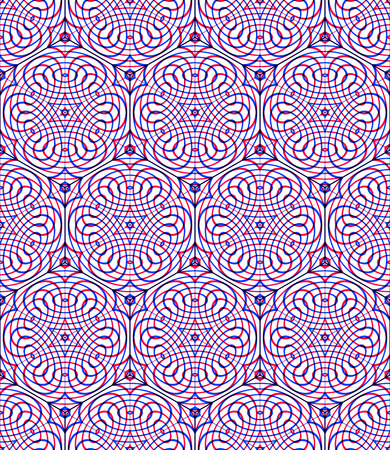 intertwine: Endless colorful symmetric pattern, graphic design. Geometric intertwine optical composition, clear EPS10.