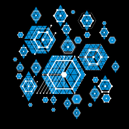 modular: Bauhaus art, decorative modular vector blue wallpaper made using hexagons and circles. Retro style pattern, graphic backdrop for use as booklet cover template. Illustration of engineering system. Illustration