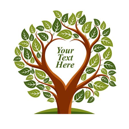 Ilustración del vector de árbol con hojas y ramas en forma de corazón con copia espacio en blanco. idea imagen Amor y la maternidad. Usted es libre de escribir el texto aquí.