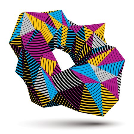 spatial: Spatial vector colorful object isolated, 3d technology figure with geometric lines. Illustration