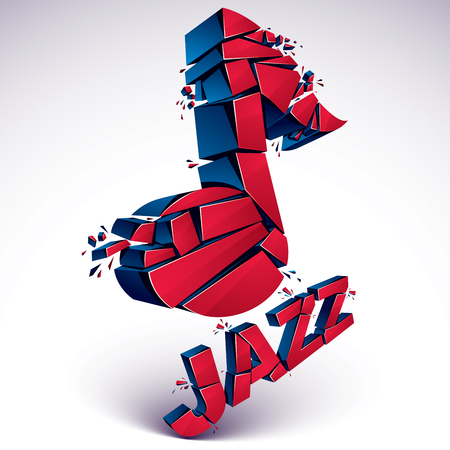 facet: Red 3d vector shattered musical note with specks and refractions. Dimensional facet design music demolished symbol. Jazz music theme. Illustration