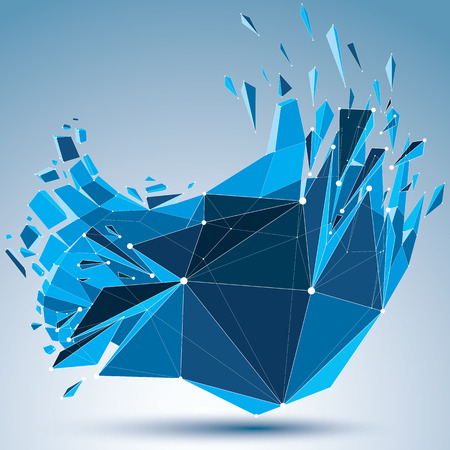 luminescent: 3d vector digital wireframe complicated object broken into different particles and fractions, geometric blue polygonal structure with dotted lines. Low poly shattered shape with luminescent effect. Illustration
