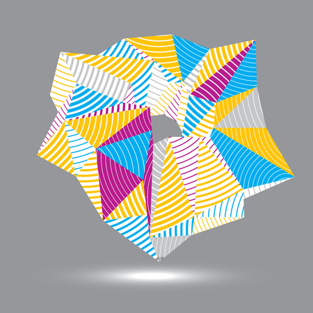 spatial: Asymmetric 3D abstract striped vector object, colorful geometric spatial form. Render and modeling.