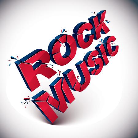 demolished: 3d rock music word broken into pieces, demolished vector design element. Shattered art stylish inscription. Illustration