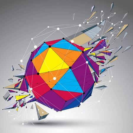 fragmentation: Abstract colorful 3d faceted figure with connected lines and dots. Vector low poly shattered design element with fragments and particles. Explosion effect. Illustration