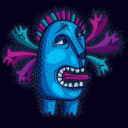 weird: Character monster vector flat illustration, cute blue mutant. Drawing of weird beast, emotional expression.