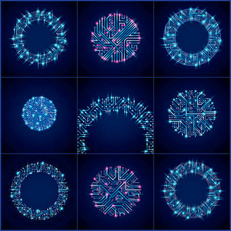 high tech: Set of vector abstract luminescent technology elements, round blue neon circuit boards with sparkles. High tech circular digital schemes of electronic device, multidirectional arrows. Illustration