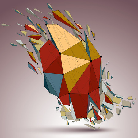 smashed: 3d vector low poly object with connected lines and dots, colorful geometric wireframe shape with refractions. Asymmetric perspective shattered form. Illustration