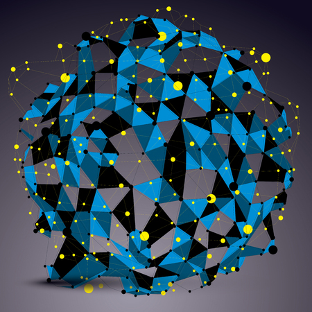 asymmetric: Abstract asymmetric vector blue structure with yellow wire mesh, complicated geometric shape. Lace colored figure.