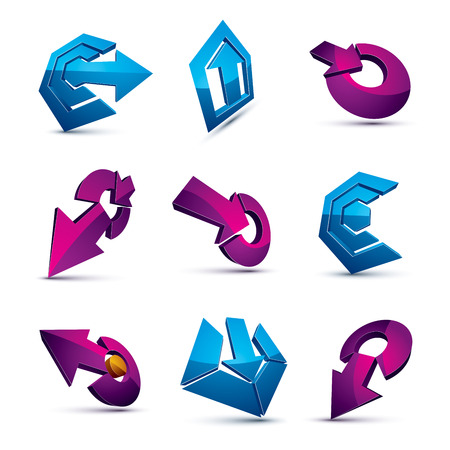 navigation pictogram: Dimensional vector app buttons. Collection of arrows, direction icons and different business corporate graphic symbols. Illustration