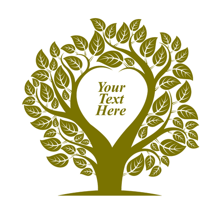 your text here: Vector illustration of tree with leaves and branches in the shape of heart with blank copy space. Love and motherhood idea image. You are free to write your text here. Illustration