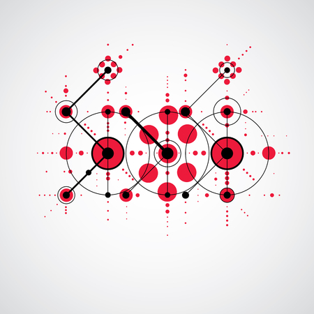 bauhaus: Modular Bauhaus red vector background, created from simple geometric figures like circles and lines. Best for use as advertising poster or banner design. Illustration
