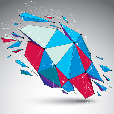 asymmetric: 3d vector low poly object with connected lines and dots, colorful geometric wireframe shape with refractions. Asymmetric perspective shattered form. Illustration