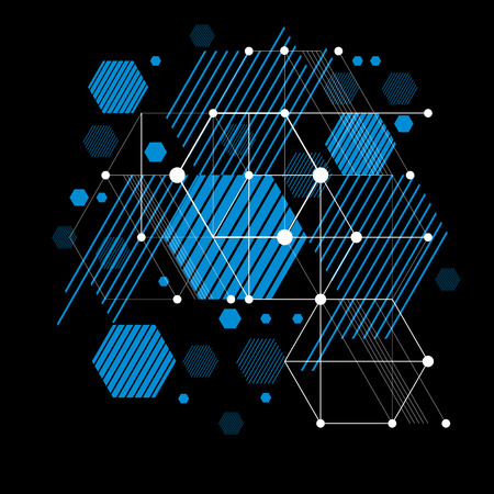 bauhaus: Vector abstract blue background created in Bauhaus retro style. Modern geometric composition can be used as templates and layouts. Engineering technological wallpaper made with honeycombs. Illustration