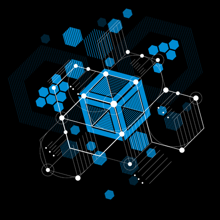 bauhaus: Bauhaus art, decorative modular vector blue wallpaper made using hexagons and circles. Retro style pattern, graphic backdrop for use as booklet cover template. Illustration of engineering system. Illustration