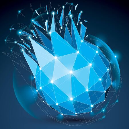 3 d ベクトル デジタル ワイヤ フレーム オブジェクト別の粒子に分割ライン メッシュと光効果を持つ幾何学的多角形構造。低ポリ青粉々 になったグロー形、格子形の輝き。