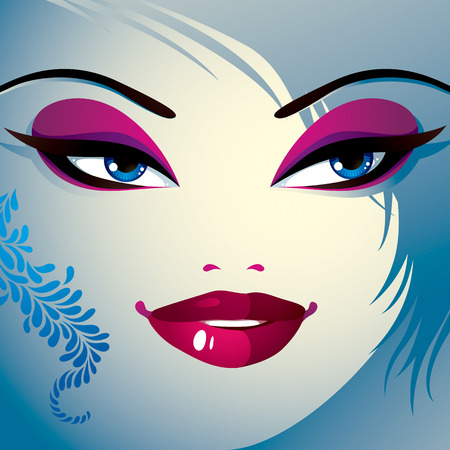 hairdo: Coquette woman eyes and lips, stylish makeup and hairdo. People positive facial emotions. Illustration