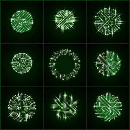 abstractions: Round luminescent green circuit boards with electronic components of technology device. Computer motherboards cybernetic vector abstractions with flash effect and arrows. Illustration