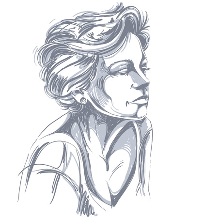 classy woman: Hand-drawn portrait of white-skin sad woman, face emotions theme illustration. Beautiful sorrowful lady posing on white background.